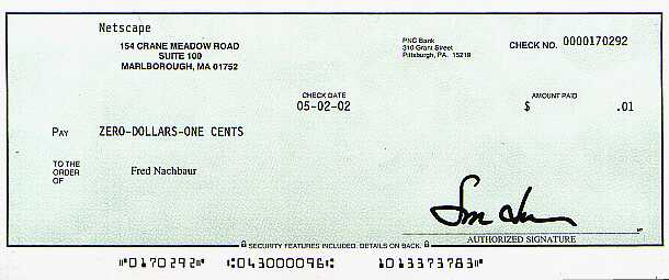 Check from Netscape for One Cent